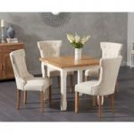 Somerset 90cm Flip Top Oak and Cream Dining Table with Camille Cream Fabric Chairs