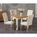Somerset 90cm Flip Top Oak and Cream Dining Table with Claudia Cream Fabric Chairs