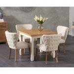 Somerset 90cm Flip Top Oak and Cream Dining Table with Isobel Cream Fabric Chairs