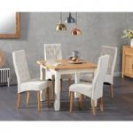 Somerset 90cm Flip Top Oak and Cream Table with Juliette Cream Chairs