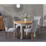 Somerset 90cm Flip Top Oak and Grey Dining Table with Camille Grey Fabric Chairs