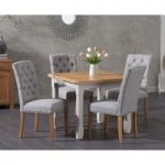 Somerset 90cm Flip Top Oak and Grey Dining Table with Claudia Grey Fabric Chairs