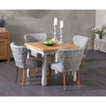 Somerset 90cm Flip Top Oak and Grey Dining Table with Isobel Grey Fabric Chairs