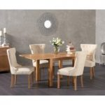 Somerset 90cm Flip Top Oak Dining Table with Camille Fabric Chairs