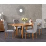 Somerset 90cm Flip Top Oak Dining Table with Claudia Fabric Chairs