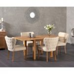 Somerset 90cm Flip Top Oak Dining Table with Isobel Fabric Chairs