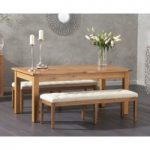 Somerset 180cm Oak Extending Dining Table with Camille Cream Fabric Benches