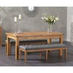 Somerset 180cm Oak Extending Dining Table with Camille Grey Faux Leather Benches