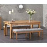 Somerset 180cm Oak Extending Dining Table with Camille Grey Fabric Benches