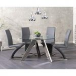 Ex-display Tamara 120cm Round Glass Table with FOUR GREY Hampstead Chairs