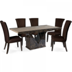 Tamarro 220cm Marble-Effect Dining Table with Alpine Chairs