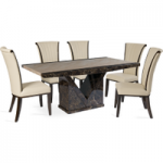 Tamarro 160cm Marble-Effect Dining Table with Alpine Chairs