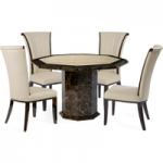 Tamarro Octagonal Marble-Effect Dining Table with Alpine Chairs