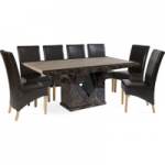 Tamarro 220cm Marble-Effect Dining Table with Cannes Chairs