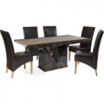 Tamarro 160cm Marble-Effect Dining Table with Cannes Chairs