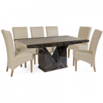 Tamarro 180cm Marble-Effect Dining Table with Cannes Chairs