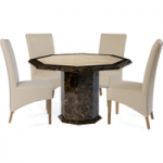 Tamarro Octagonal Marble-Effect Dining Table with Cannes Chairs