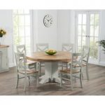 Torino 150cm Oak & Grey Pedestal Dining Table with Cavendish Chairs