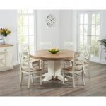 Torino 150cm Oak & Cream Pedestal Dining Table with Cavendish Chairs
