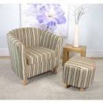 Evelyn Stripe Fabric Antique Gold Tub Chair Set