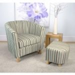 Evelyn Stripe Fabric Duck Egg Blue Tub Chair Set