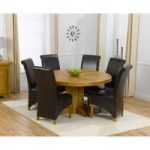 Torino 150cm Solid Oak Round Pedestal Dining Table with Kentucky Chairs