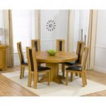 Torino 150cm Solid Oak Round Pedestal Dining Table with Toronto Chairs