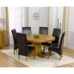 Torino 150cm Solid Oak Round Pedestal Dining Table with Cannes Chairs