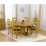 Torino 150cm Solid Oak Round Pedestal Dining Table with Vermont Chairs