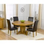 Torino 150cm Solid Oak Round Pedestal Dining Table with Normandy Chairs