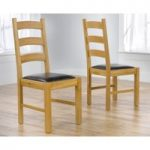 Vermont Solid Oak and Leather Dining Chairs