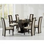 Verbier 180cm Brown V Pedestal Marble Dining Table with Raphael Chairs