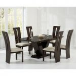 Verbier 180cm Brown V Pedestal Marble Dining Table with Verbier Chairs