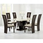 Verbier 180cm Cream and Brown V Pedestal Marble Dining Table with Verbier Chairs