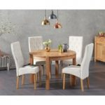 Verona 110cm Oak Round Dining Table with Juliette Chairs
