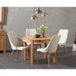 Verona 110cm Oak Round Dining Table with Ashford Fabric Chairs