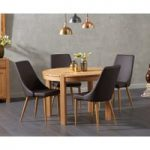 Verona 110cm Oak Round Dining Table with Ashford Faux Leather Chairs