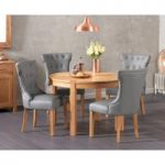Verona 110cm Solid Oak Round Table with Camille Grey Faux Leather Chairs