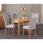 Verona 110cm Solid Oak Round Table with Claudia Fabric Chairs