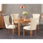 Verona 110cm Solid Oak Round Table with Camille Fabric Chairs