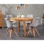 Verona 110cm Oak Round Dining Table with Oscar Fabric Round Leg Chairs
