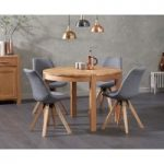 Verona 110cm Oak Round Dining Table with Oscar Fabric Square Leg Chairs