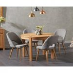 Verona 110cm Oak Round Dining Table with Halifax Fabric Chairs