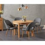 Verona 110cm Oak Round Dining Table with Halifax Faux Leather Chairs