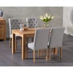 Verona 120cm Solid Oak Dining Table with Claudia Fabric Chairs