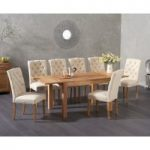 Verona 120cm Extending Solid Oak Table with Claudia Fabric Chairs