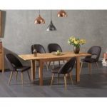 Verona 120cm Solid Oak Extending Dining Table with Halifax Faux Leather Chairs