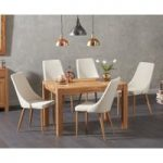 Verona 120cm Solid Oak Dining Table with Ashford Fabric Chairs