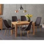 Verona 120cm Solid Oak Dining Table with Ashford Faux Leather Chairs