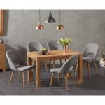 Verona 120cm Solid Oak Dining Table with Halifax Fabric Chairs
